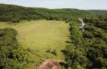 Абрикосовское поселение, 2020. Раскоп VI. Вид сверху на долину р. Кроуновка и местоположение раскопа